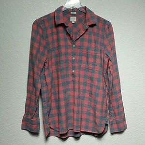 J. Crew Factory Boy Fit Homespun Popover Plaid Med